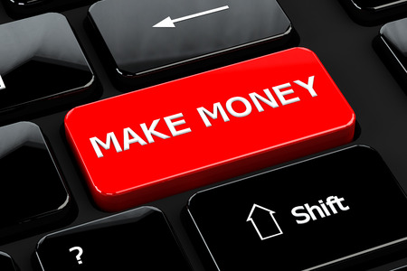 moneymaker: Finance concept: Make money words on computer keyboard background. 3D render.