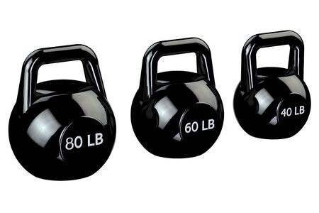 lb: Black kettlebells with sign 80 lb, 60 lb, 40 lb, isolated on white background. 3D render.