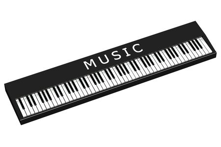 sensory perception: Black piano with word music, isolated on white background.  3D render.