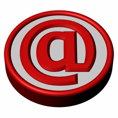 direct sale: Blue button with sign e-mail, isolated on white background. 3D render.