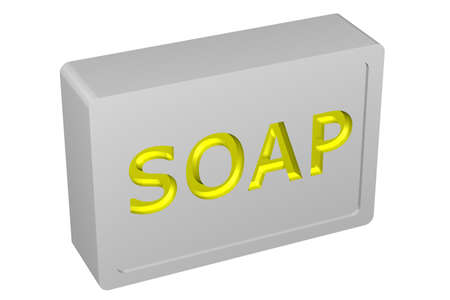 bodycare: Soap, isolated on white background. 3D render.