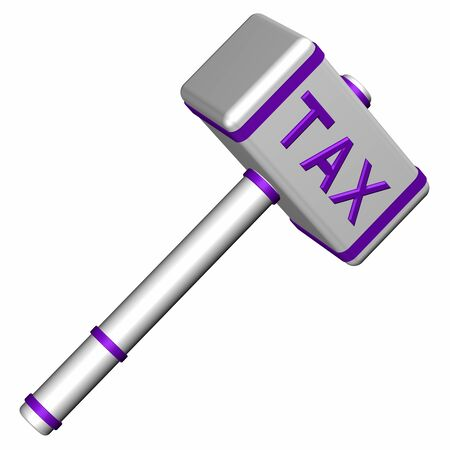 tax law: Hammer with word Tax, isolated on white background. 3D render.