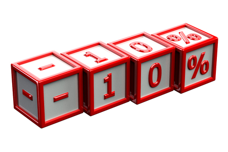 10: Blocks with sign -10%, isolated on white background. 3D render.