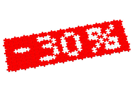 the 30: Red puzzle with sign -30%, isolated on white background. 3D render.