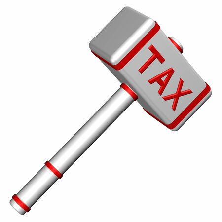 contributions: Hammer with word Tax, isolated on white background. 3D render.
