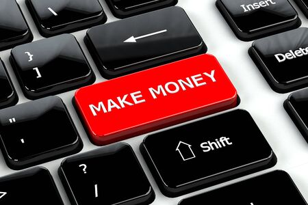 moneymaker: Finance concept: Make money words on computer keyboard background. 3D render.
