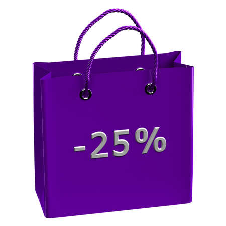desires 25: Purple shopping bag with word -25%, isolated on white background.  3D render.