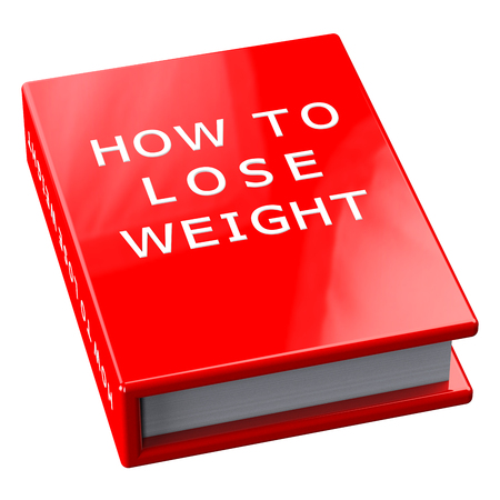 be ill: Red book with words how to lose weight, isolated on white background.  3D render.