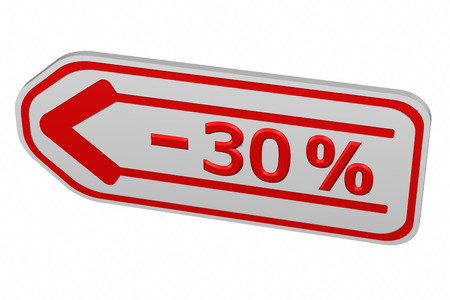 the 30: Discount - 30 % arrow, isolated on white background. 3D render.