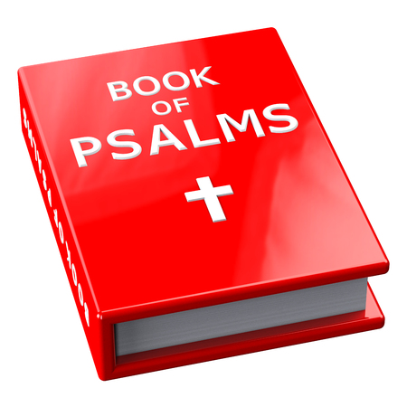 Red book with words Book Of Psalms, isolated on white background.  3D render.