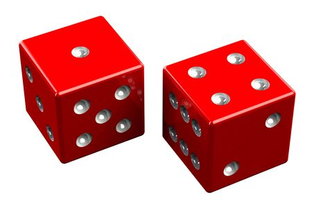 pair: Pair of dice - Five, isolated on white background. 3D render. Stock Photo