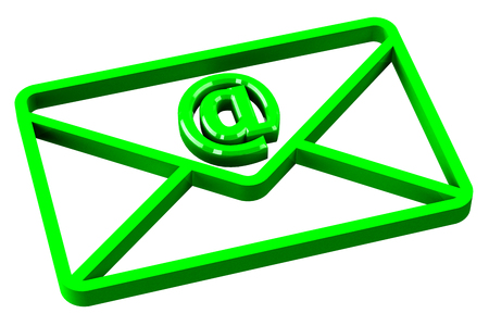 mail marketing: Green envelope with sign e-mail, isolated on white background. 3D render. Stock Photo