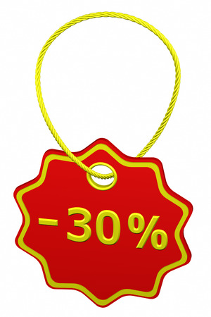 30: Discount - 30 % tag, isolated on white background. 3D render. Stock Photo
