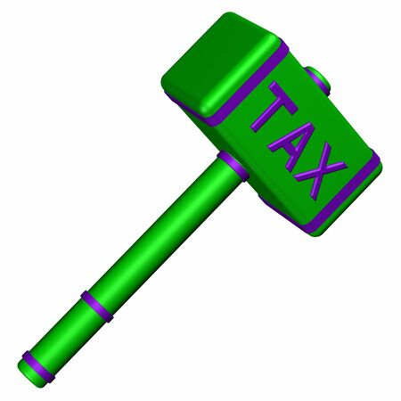 commercial law: Hammer with word Tax, isolated on white background. 3D render.