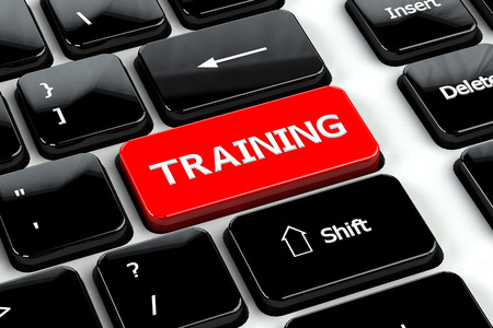klawiatury: Koncepcja kształcenia: Szkolenie słowa na klawiaturze komputera tle. 3D render. Zdjęcie Seryjne