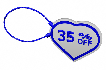 35: Heart tag with sign discount 35 % off, isolated on white background. 3D render.
