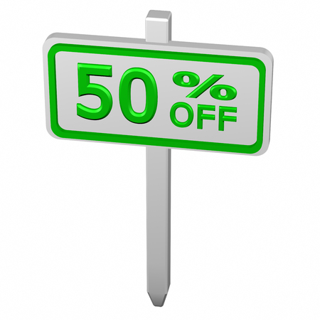 50 off: Pillar with sign discount 50 % off, isolated on white background. 3D render.