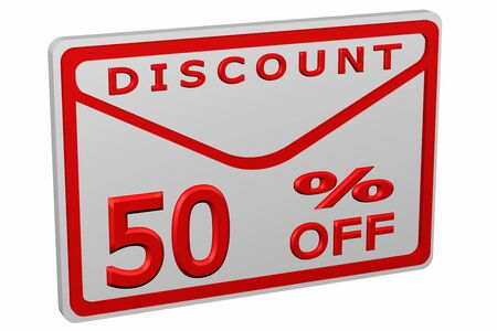 50 off: Envelope with sign discount 50 % off, isolated on white background. 3D render.