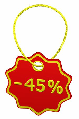 45: Discount - 45 % tag, isolated on white background. 3D render. Stock Photo