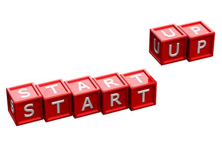 creating wealth: Words start up written white letter on red blocks, isolated on white background. 3D render.