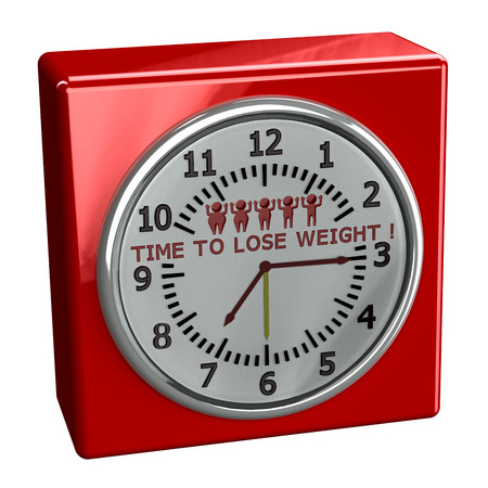 lose weight: Red watch with words time to lose weight, isolated on white background. 3D render.