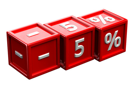 5: Blocks with sign -5%, isolated on white background. 3D render.