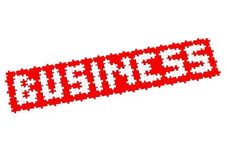 white interest rate: Red puzzle with word business, isolated on white background.  3D render.