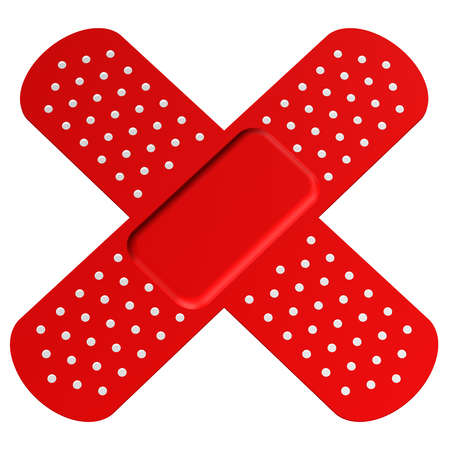 harm: Cross bandaid, isolated on white background. 3D render. Stock Photo