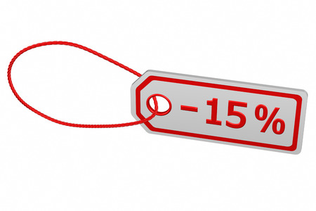 15: Discount - 15 % tag, isolated on white background. 3D render.