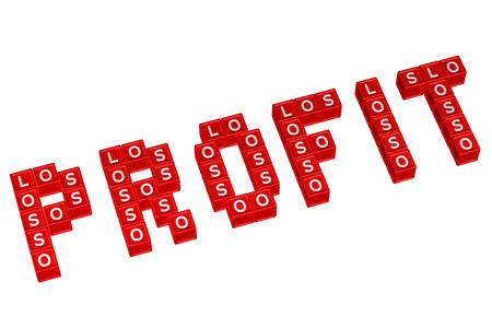 economic interest: Word Profit written with blocks with letters L,O,S, isolated on white background. 3D render.