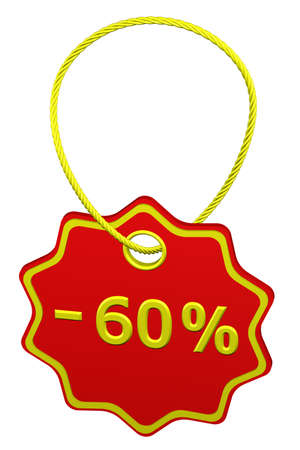 commercial activity: Discount - 60 % tag, isolated on white background. 3D render.