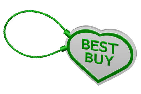 best buy: Heart tag best buy, isolated on white background.