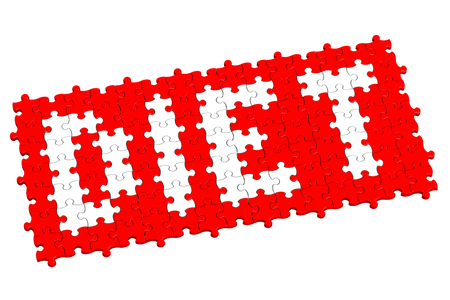 over weight: Red puzzle with word diet, isolated on white background.  3D render.