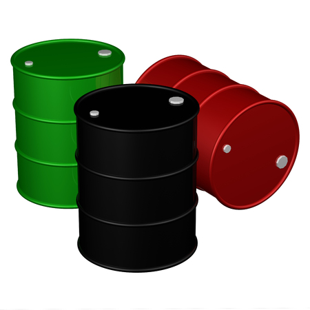 Barrels, isolated on white background.  3D render. Stock Photo
