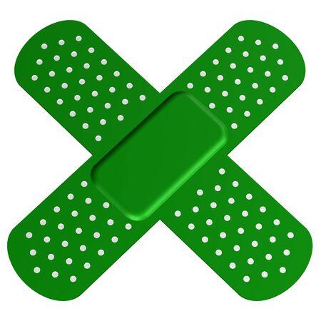 bandaid: Cross bandaid, isolated on white background. 3D render. Stock Photo