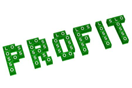white interest rate: Word Profit written with blocks with letters L,O,S, isolated on white background. 3D render.