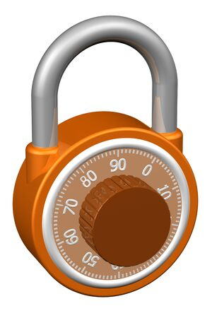 to encode: Combination padlock, isolated on white background.  3D render.