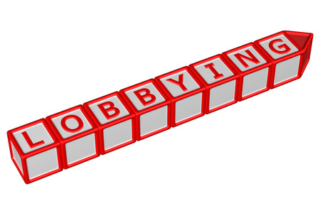persuasion: Blocks with word lobbying, isolated on white background. 3D render.