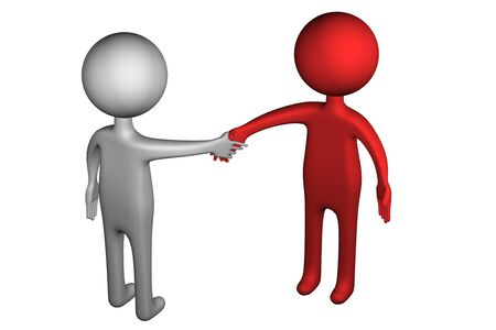 3d people: 3D People shaking hands, isolated on white background. 3D render. Stock Photo