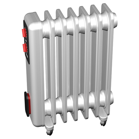 Electric Heaters, isolated on white background.  3D render. Stock Photo