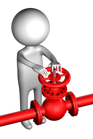 3D Man with pipeline with valve, isolated on white background. 3D render. Imagens
