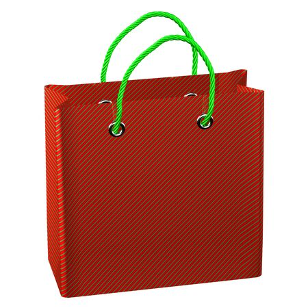 commercial event: Red shopping bag, isolated on white background.  3D render.