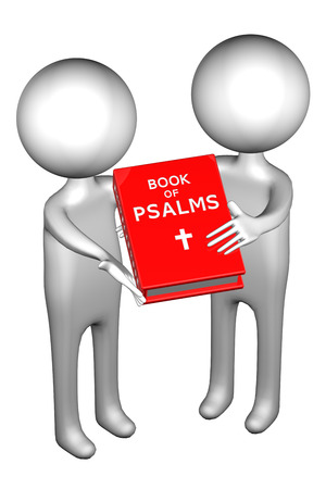 3d people: 3d People with Book Of Psalms, isolated on white background. 3D render. Stock Photo