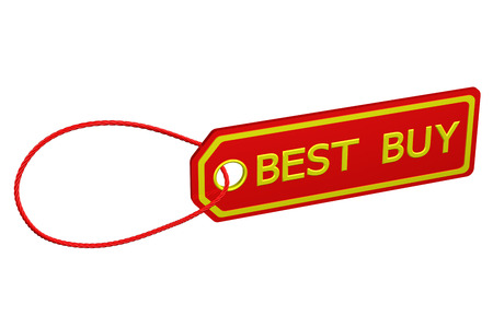 best buy: Best buy tag, isolated on white background. 3D render.