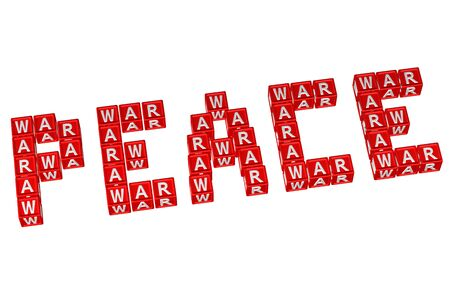 armistice: Word Peace written with blocks with letters W,A,R, isolated on white background. 3D render.