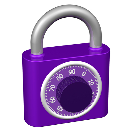 encode: Combination padlock, isolated on white background.  3D render.