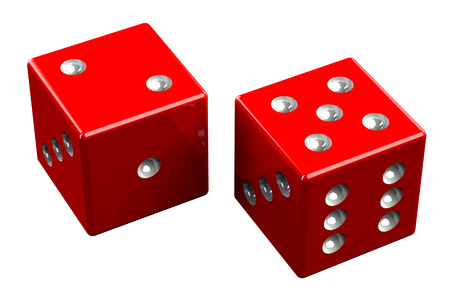 red dice: Pair of dice - Seven Out, isolated on white background. 3D render. Stock Photo