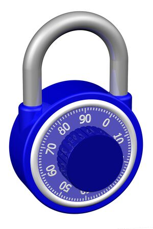 combination: Combination padlock, isolated on white background.  3D render.