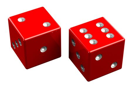 Coppia di dadi - Easy Eight, isolato su sfondo bianco. Rendering 3D