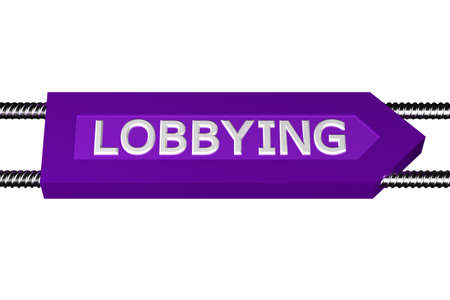 Word lobbying written on the arrow, isolated on white background. 3D render. Stock Photo